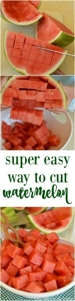 Love watermelon? Here's a tutorial on the easiest way to cut a watermelon. It's quick and easy and little mess. It's the best! | Little Dairy on the Prairie