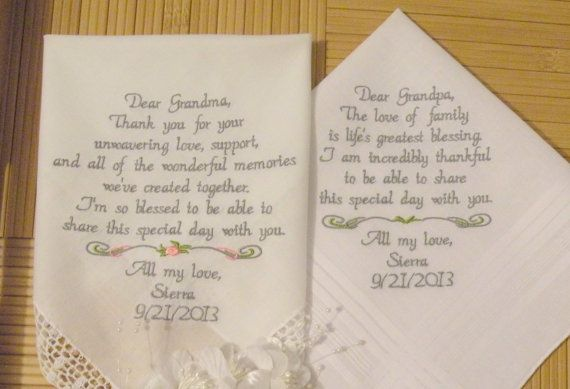Wedding Handkerchiefs For The Family: Embroidered Wedding Hankerchiefs Grandparents By