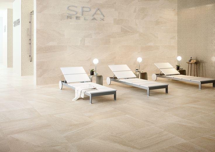 Questa Spa è stata realizzata utilizzando sia a pavimento che a rivestimento la nostra collezione effetto pietra: Lake Stone. Colore Ivory http://www.supergres.com/your-home/pavimenti/item/565-lake-stone