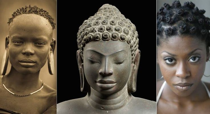 """The earliest Asians carry our Black African features, many are still dark in complexion today, those from and Andaman Islands, Philippines, Southern Thailand, Northern Malaysia etc. One must also acknowledge and understand that their god """"Buddha"""" in many depictions as pictured here in the middle has knots in the hair...."""