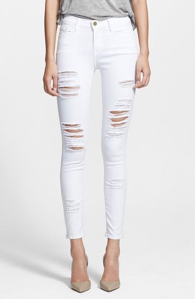 FRAME Le Color Rip Skinny Jeans (Film Noir) available at #Nordstrom