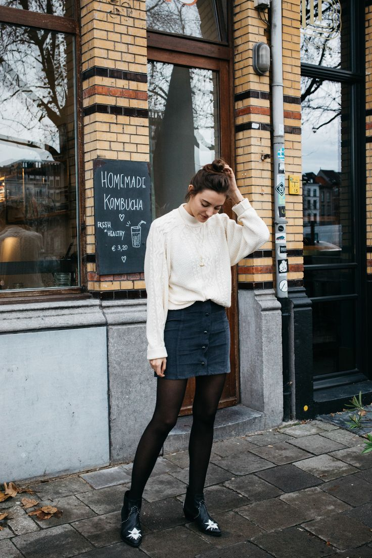 POLIENNE   wearing a VILA knit & skirt, MOROBE boots at Tinsel, Antwerp