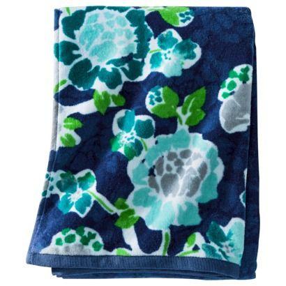 Room Essentials® Floral Bath Towel - Blue - and the downstairs bathroom light aqua? (8.50)