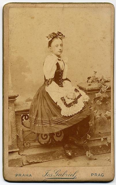 Girl In Folk Costume    Photographer Josef Gabriel in Prague. CDV circa 1870.