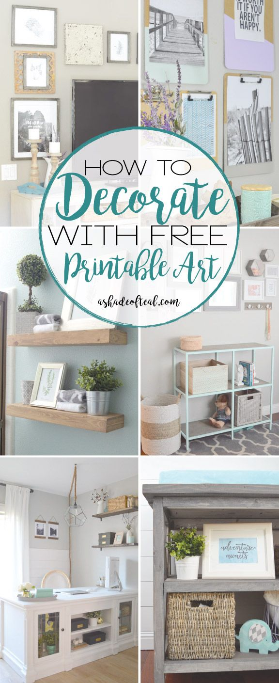 Decortaing with Free Printable Art. Gallery Wall art and muh more | A Shade Of Teal