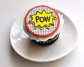 Edible Image POW Fondant Cupcake Topper for Super Hero Birthday Parties