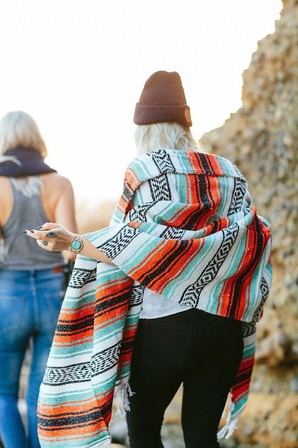THE CASSIDY: Turquoise, Orange, Black & White Mexican Blanket | Gunn & Swain