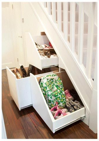 under stair storage, perfect for when everyone comes home instead of leaving your shoes n backpacks by the door :)