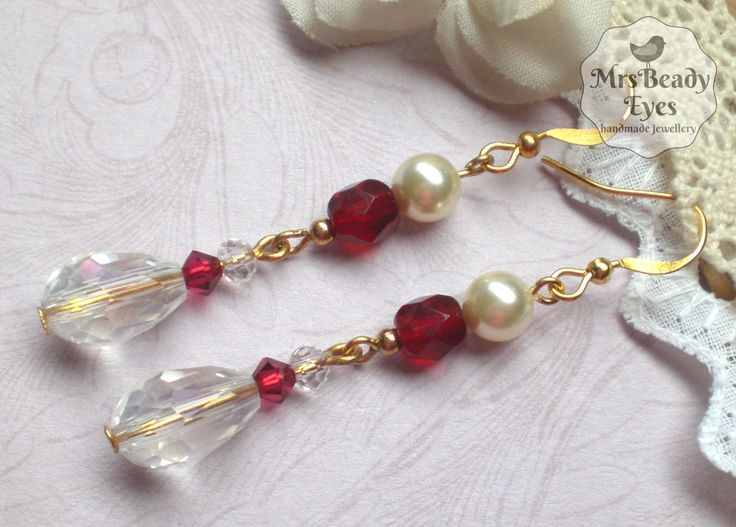 Red bridal earrings Victorian bridal earrings Boho bridal earrings Vintage bridal earrings Crystal drop earrings 1920s bridal earrings by MrsBeadyEyes on Etsy