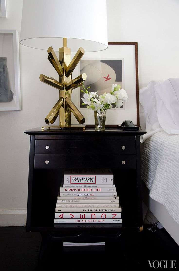 Kyle DeWoody: Antiques Stores, Brass Lamps, Book, Black White, Bedside Tables, Night Stands, Vogue Magazines, Greenwich Village, Gold Lamps