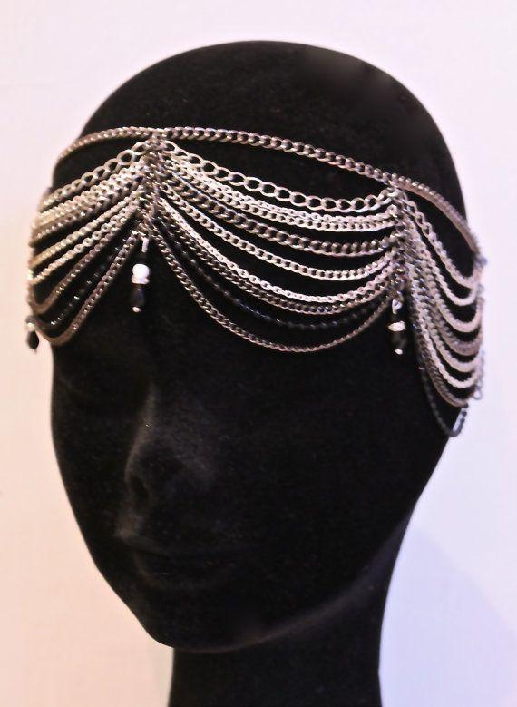 Chain headdress Great Gatsby Headband - 1920s Art deco style flapper - Great Gatsby headpiece - Wedding Headband -Headdress