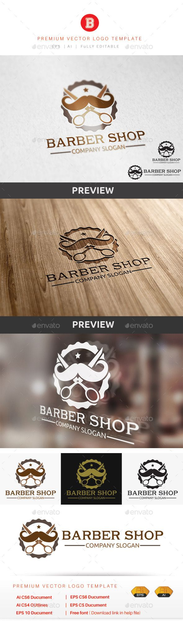 Barber Shop - Logo Design Template Vector #logotype Download it here: http://graphicriver.net/item/barber-shop/9454058?s_rank=481?ref=nesto