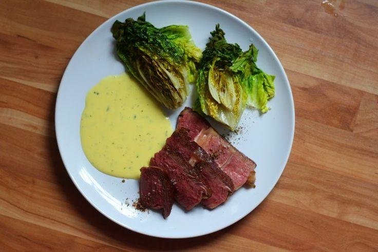 Ochsenkotelett (sous vide) mit gebackenem Romana und Sauce Béarnaise mit Anis-Ysop