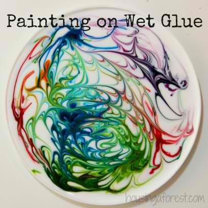 Painting on Wet Glue | 25 DIY Crafts for Kids To Do For Summer