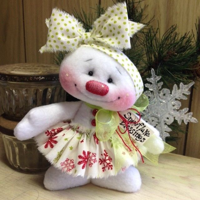 "Primitive HC Raggedy Snowman Snow Girl Snowflake Christmas Doll 7"" Super Cute!  #IsntThatCute #Christmas"