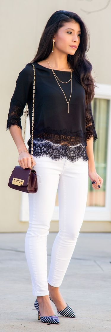 Black Lace Hem Blouse by Stylishly Me