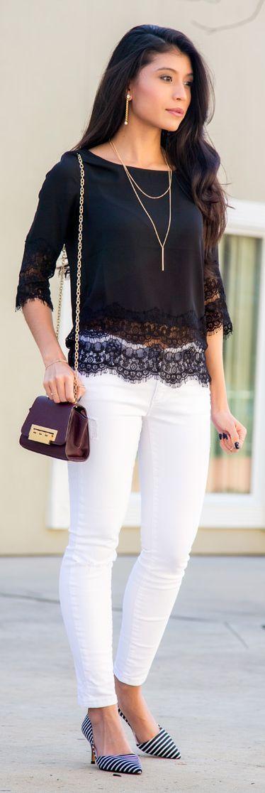 Black Lace Hem Blouse by Stylishly Me