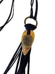 Navy Suede Necklace with Bronze ID Tag