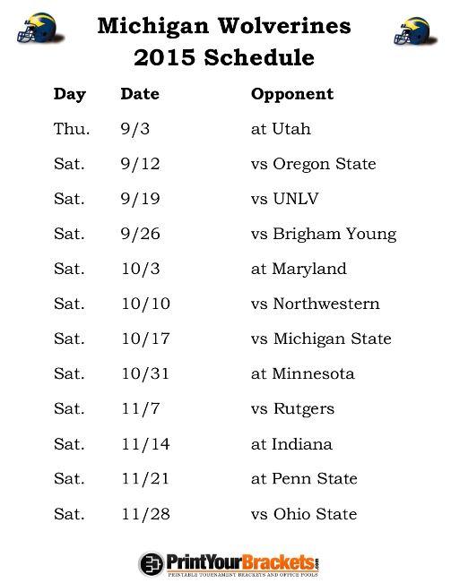 Printable Michigan Wolverines Football Schedule 2015