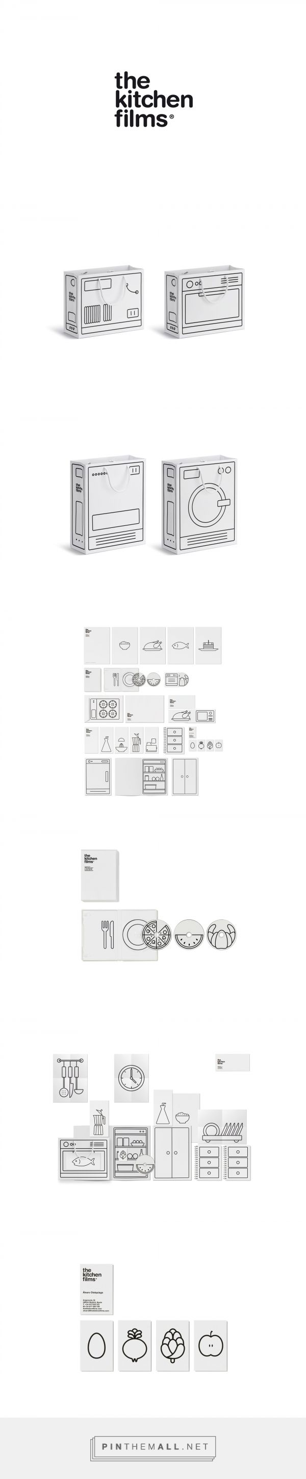 Black and white corporate identity and packaging for The Kitchen Films by Ruiz + Company curated by Packaging Diva PD.