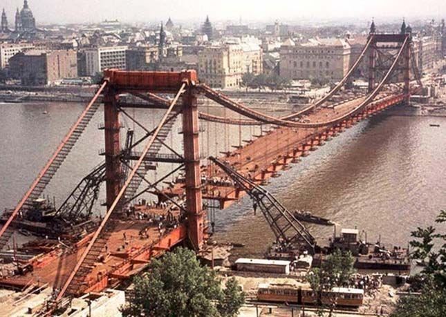 Az Erzsébet-híd építése, 1962