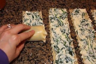 Spinach and cheese lasagna rolls. Maybe add some artichoke. This recipe does not come with measurements so be ready to guesstimate