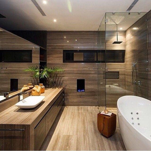 WEBSTA @ anahygino_decor - Sala de banho super aconchegante e com design contemporâneo! A-M-E-I!!! (Desconheço o autor do projeto)