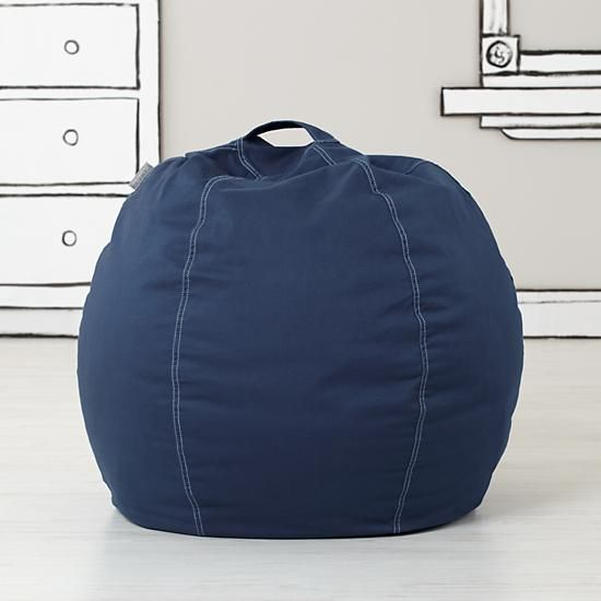 """Shop 30"""" Cool Beans! Bean Bag Chair (Dk.  Blue).  Okay, kid.  Have a seat.  Your Nod Bean Bag Chair is here.  With brushed cotton twill covers, they're quite a bit cooler than your dad's last knock-knock joke."""