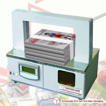 """STEP Band 1000 Banding Machine 30mm  A machine that will complete your daily banding needs Product width minimum """"30mm"""" and maximum 380mm Maximum product height 200mm Capacity up to 26 bandings per minute Use PW 80-29-180 paper white, PB 80-29-180 paper brown, FTB 100-29-200 clear film. Heat seal of the banding tape Desk top use. Electrical connection 230V 50Hz 1 phase"""