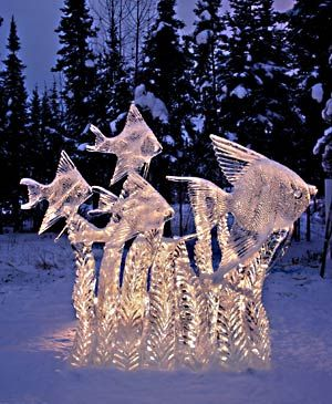 FAIRBANKS, ALASKA: The International Ice Sculpting Championship, a yearly event features large ice sculptures placed around the city, such as this remarkable school of Angel Fish. (James Dorsey)