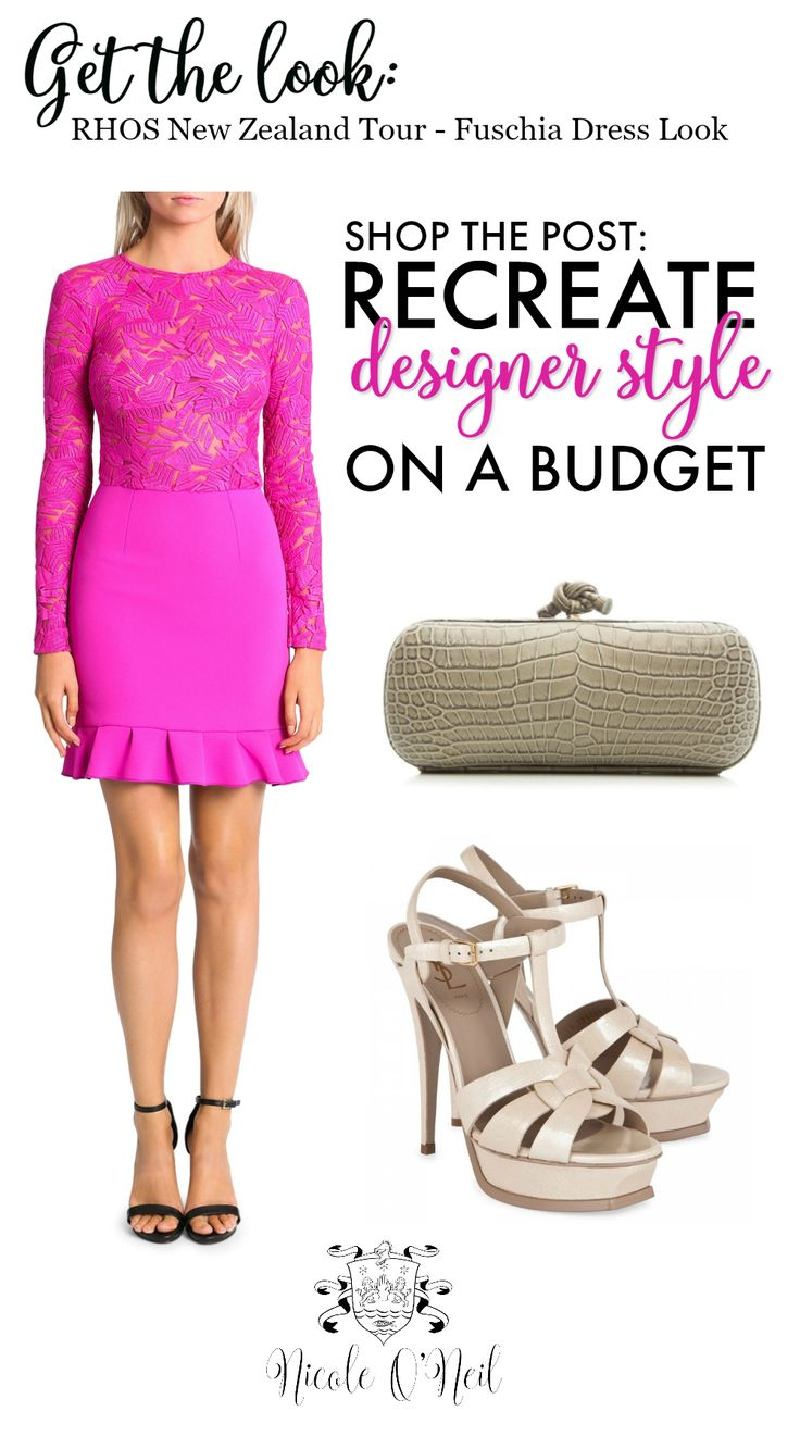 Get the Look. Real Housewives of Sydney star Nicole O'Neil pairs this hot pink/fuschia embroidered lace dress from Yeojin Bae with nude Classic Tribute Sandal Heels and a Bottega Veneta Crocodile Clutch. Get the look for less with Nicole's budget friendly picks and recreate designer style for cheap! Click the link to shop the post and find out more.