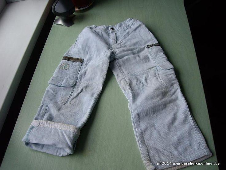 Вельветовые брюки голубые утепленные