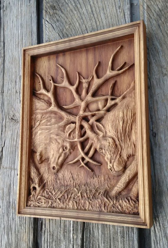 Deer Fight Animal Carving Wild Life Wood Deer Wall Hanging Home Decor Woodwork Housewarming Gift Hunter Gift Nature Rustic Living Room Wall Deer Wall Hanging Carving How To Antique Wood