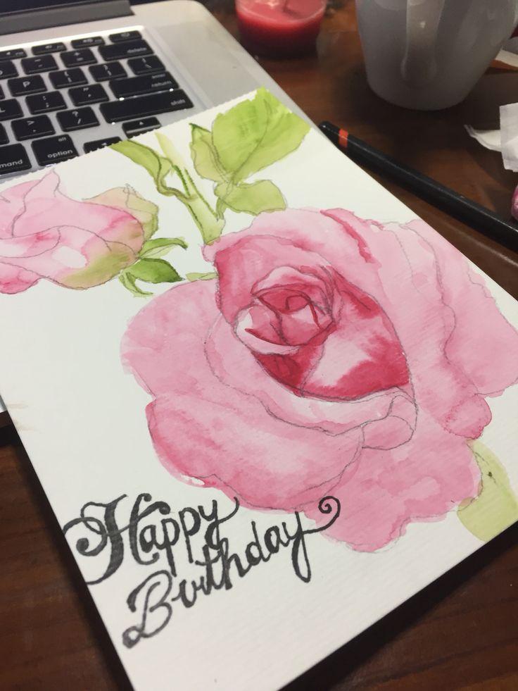 Happy birthday card diy watercolor