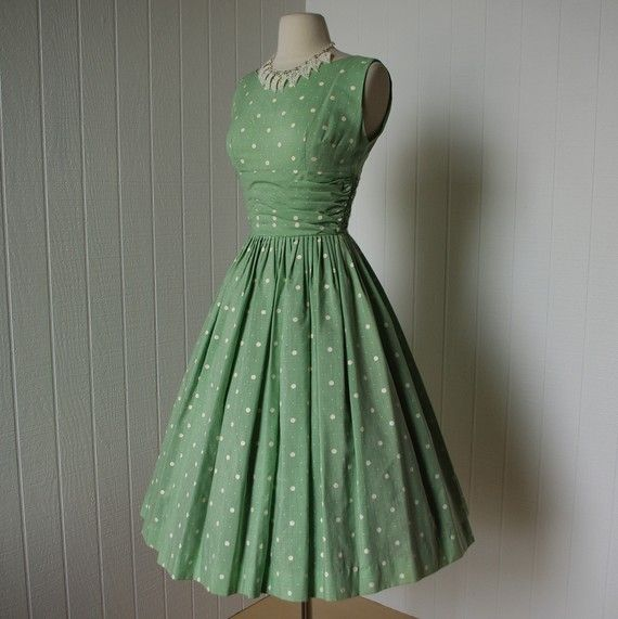 50's green with polka dots