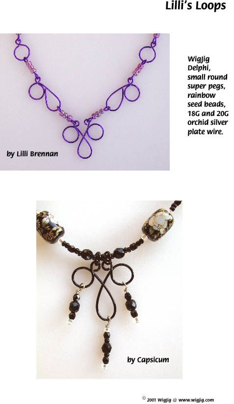 Lilli's Loops Wire and Beads Necklace made with WigJig jewelry making tools and jewelry supplies.