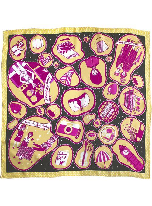 Cleo Ferin Mercury | Weekend Silk Square Scarves | London in Yellow Scarf
