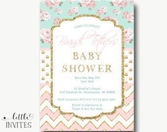 Niña bebé ducha invitación/Shabby Chic por LittleInvites en Etsy