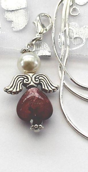 Halsband - Ängel - Lila med krok - 925 silver kedja