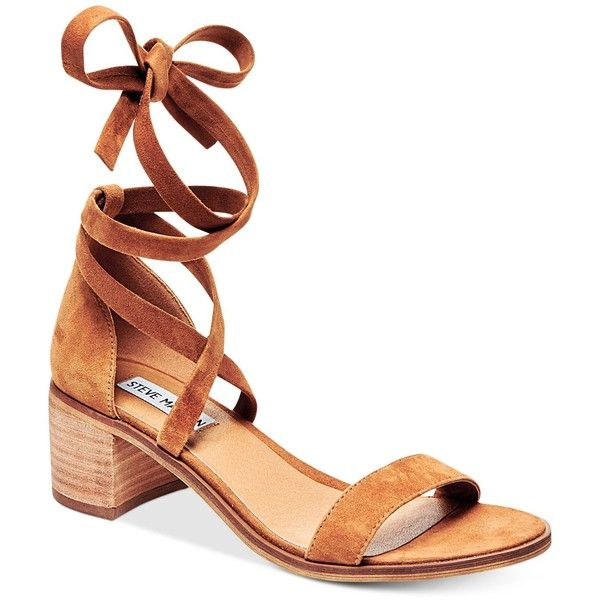 Steve Madden Women's Rizza Lace-Up Block-Heel Sandals (5.120 RUB) ❤ liked on Polyvore featuring shoes, sandals, cognac suede, suede sandals, lace up block heel sandals, ankle wrap sandals, steve-madden shoes and wrap sandals
