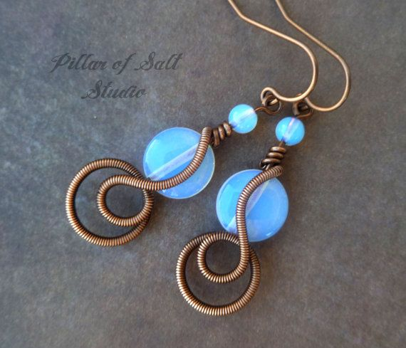 Opalite and copper Wire wrapped earrings / handmade wire wrapped jewelry by PillarOfSaltStudio