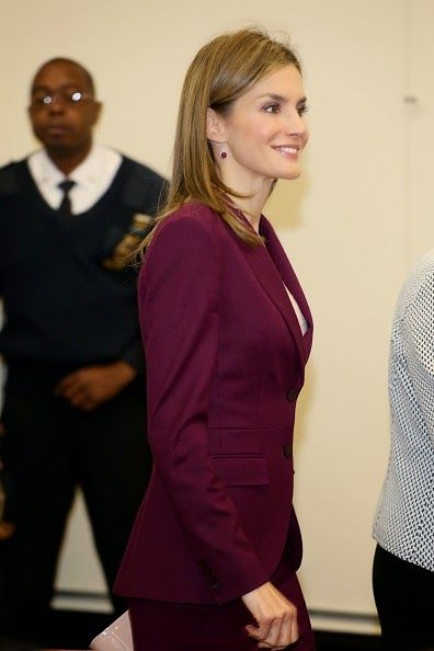 Spanish Queen Letizia arrives at the International Spanish Academies in New York City to visit on 22.09.2014