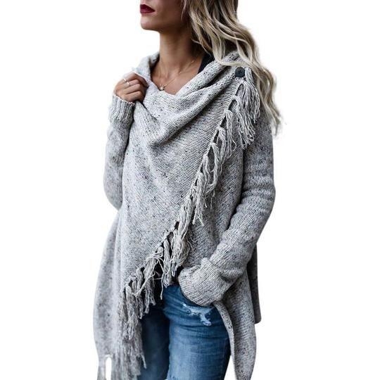 Simenual Criss cross knitted cardigans for women fashion irregular slim fringe long cardigan female winter sweater jackets