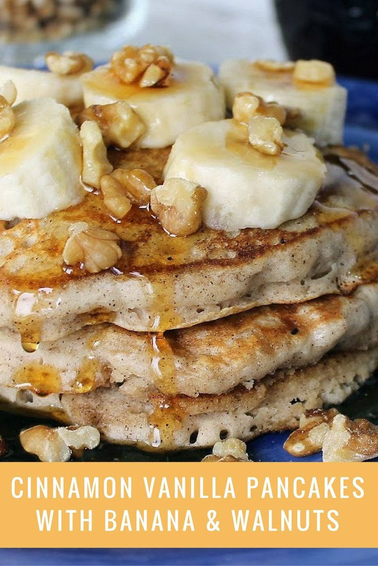 These yummy pancakes spice up a plain old pancake mix. The vanilla and cinnamon pair together nicely. I loved the addition of the walnuts and bananas. You can never go wrong topping pancakes with fruit and nuts.
