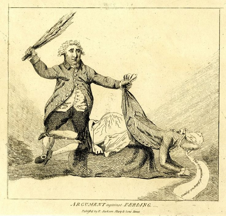 """""""Argument against Feeling"""", published by E Jackson, c. 1785. Fox spanks Pitt with a birch rod while Pitt says, """"This is a question of feeling not Argumnt"""". According to the British Museum, it is """"Probably a satire on the successful opposition to Pitt by Fox in 1785 over the Scrutiny [...] and the Irish Propositions"""". Definitely one of the weirdest caricatures of Fox and Pitt I've seen :/"""