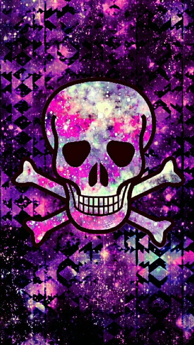 Punk pink skull tribal galaxy iPhone/Android wallpaper I created for the app CocoPPa!