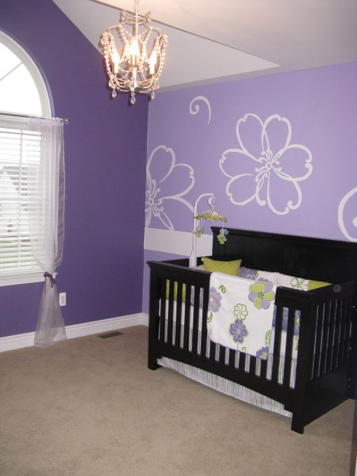 Purple Baby Girls Room, Hand painted  Purple Flowers and green accents, Decided to not do the traditional pink for our little princess. Hand traced and painted by new dad to be.  , Nurseries Design