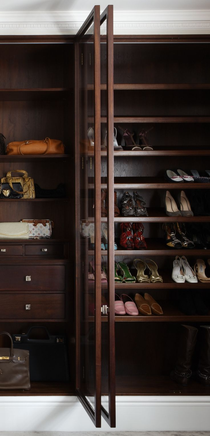 Made to measure walnut wardrobe. Shoe storage. Bespoke cabinet makers. Hand made in London. www.timamery.com