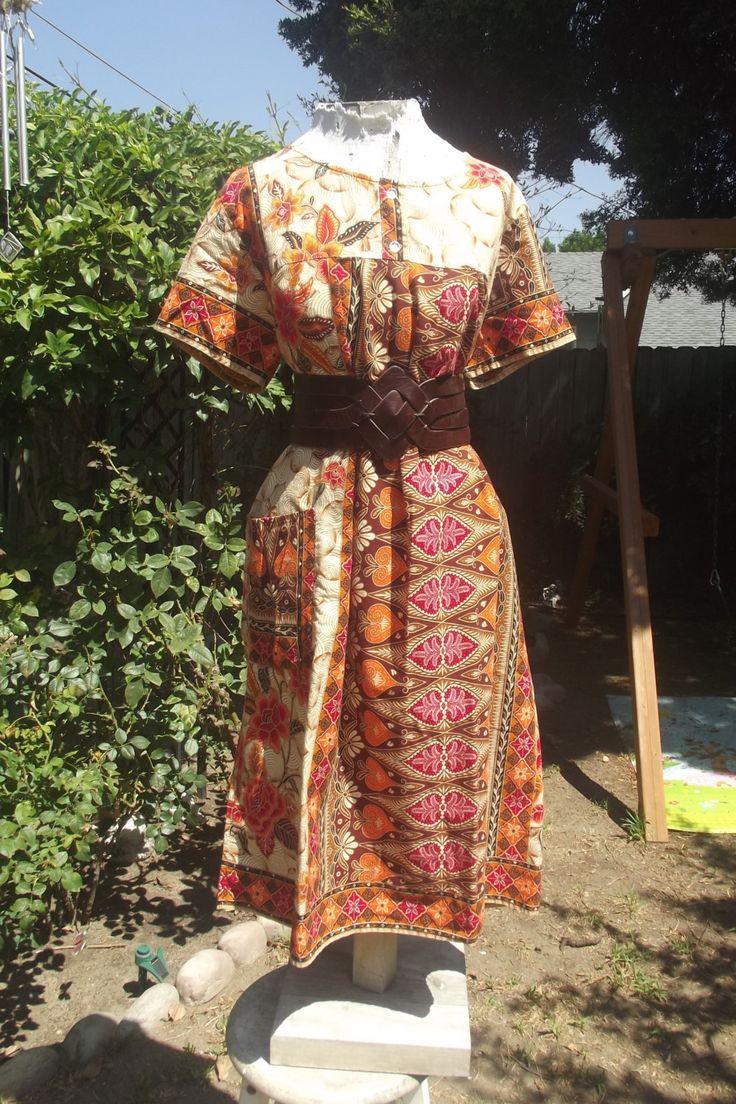 Indonesian Batik Dress Plus Size Tunic Vintage 70s Dashiki Cotton Dress Orange Festival Dress Ethnic Print Dress Maternity Dress by NovaLux on Etsy