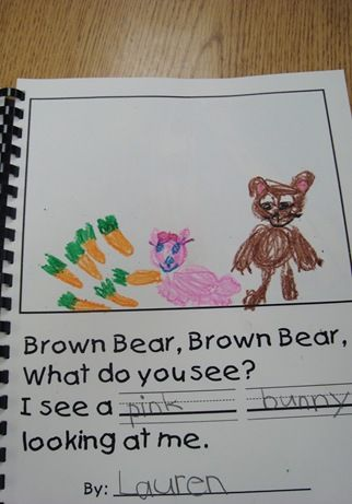 "Love this idea. ""Brown bear brown bear"" with fill in the printed colour and draw then include a page for their own animal"
